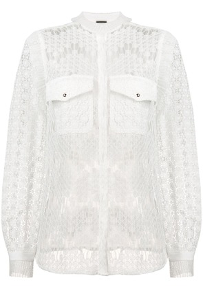 Just Cavalli sheer embroidered blouse - White