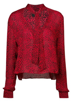 Amiri tie neck leopard print blouse - Red