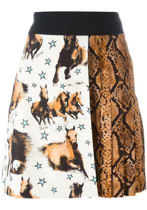Fausto Puglisi horse and snake print skirt - Black
