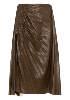 Low Classic high waist pleated faux leather skirt - Brown