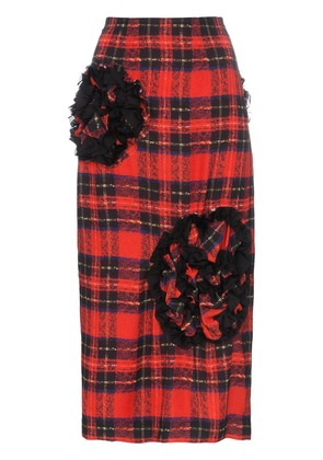 Simone Rocha Embellished Checked Skirt - Red