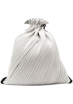 Pleats Please By Issey Miyake pleated drawstring backpack - Grey