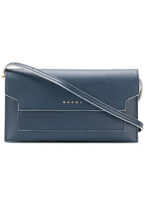 Marni Kids saffiano crossbody - Blue