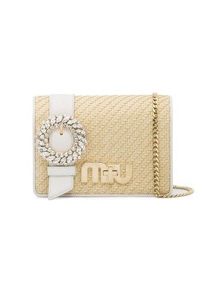 Miu Miu Beige Raffia cross body bag - White
