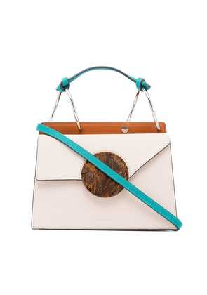 Danse Lente beige, brown and blue phoebe leather crossbody bag -