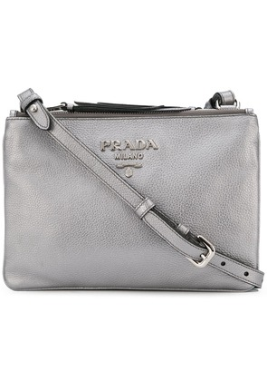 Prada logo cross body bag - Metallic