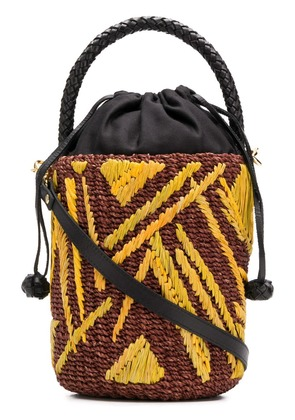 Aranaz patterned wicket basket bag - Yellow