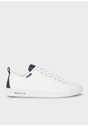 Men's White Calf Leather 'Miyata' Trainers With Navy Tongue