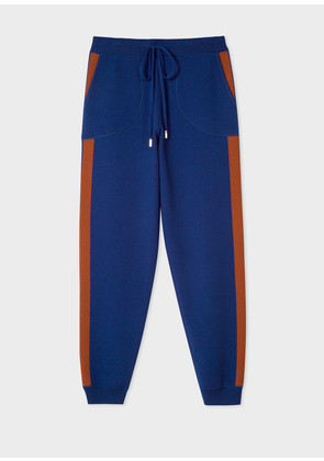 Women's Indigo Knitted Sweatpants With Rust Side Band