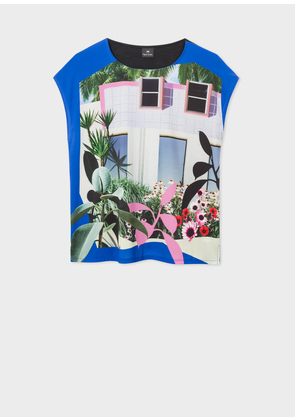 Women's Blue Sleeveless 'Tropical Miami' Print T-Shirt