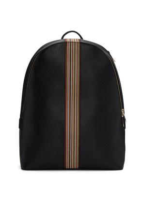 Paul Smith Black Leather Multistripe Backpack