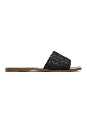Bottega Veneta Black & Tan Intrecciato Slides