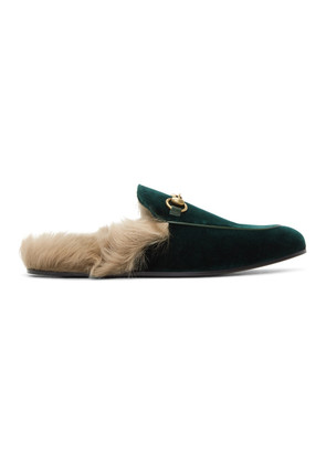 Gucci Green Velvet Princetown Slippers