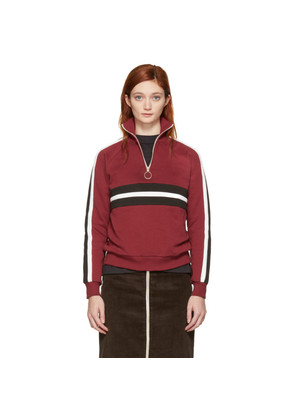 Harmony Burgundy Striped Sidonie Zip Sweater