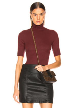 Enza Costa Rib Fitted Turtleneck Half Sleeve in Red