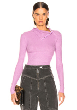 Enza Costa Rib Split Collar Long Sleeve in Purple