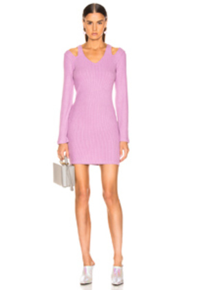 Enza Costa Rib Wide Sleeve Mini Dress in Purple