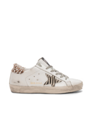 Golden Goose Superstar Sneakers in White,Animal Print
