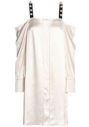3.1 Phillip Lim Woman Cold-shoulder Embellished Silk-satin Dress Cream Size 12