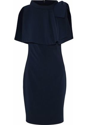 Badgley Mischka Woman Layered Bow-embellished Cady Dress Navy Size 8