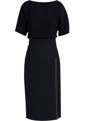 Amanda Wakeley Woman Zip-detailed Crepe And Ponte Dress Black Size 10
