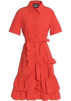 Boutique Moschino Woman Ruffle-trimmed Cotton-blend Poplin Dress Papaya Size 46