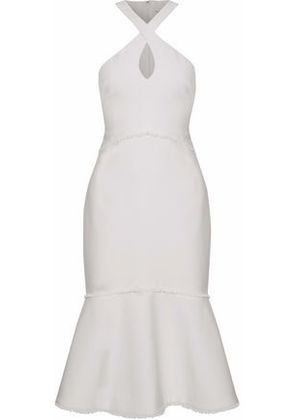 Cinq À Sept Woman Dante Fluted Frayed Crepe Dress Ivory Size 6