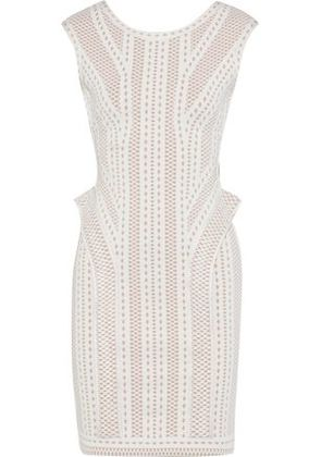 Hervé Léger Woman Jacquard-knit Dress Off-white Size S