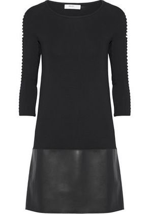 Bailey 44 Woman Kendo Laser-cut Stretch-jersey And Faux Leather Mini Dress Black Size L