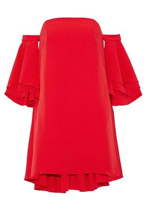 Milly Woman Double Flutter Off-the-shoulder Layered Stretch-cady Mini Dress Tomato Red Size 4