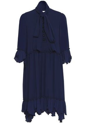 See By Chloé Woman Gathered Crepe Mini Dress Navy Size 38