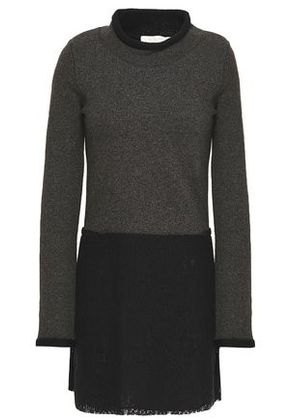 See By Chloé Woman Lace-paneled French Cotton-terry Mini Dress Dark Gray Size XS