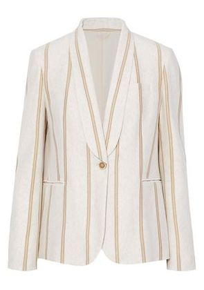 Brunello Cucinelli Woman Metallic Striped Cotton-jersey Blazer Ecru Size 40