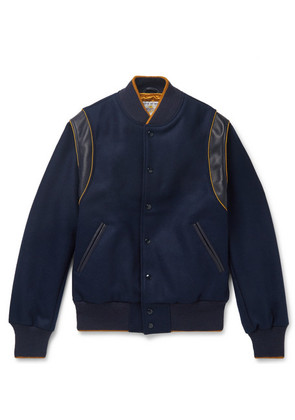 Golden Bear - The Hayes Leather-trimmed Wool-blend Bomber Jacket - Navy