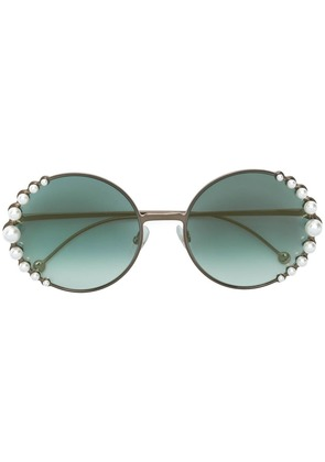 Fendi Eyewear round pearl sunglasses - Metallic