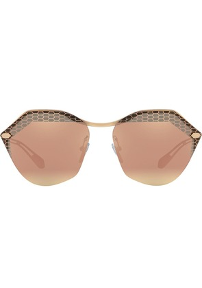Bulgari rounded hexagonal frame sunglasses - Metallic