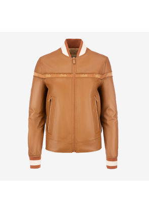 Bally Nappa Ribbon Bomber Jacket Brown, Women's lamb nappa leather bomber jacket in cowboy