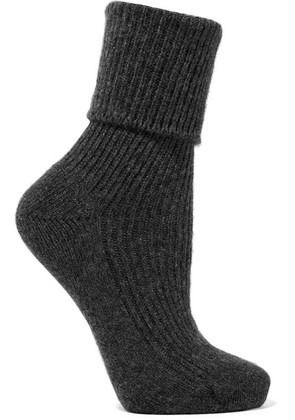 Johnstons of Elgin - Ribbed Cashmere Socks - Charcoal