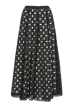 Andrew Gn Pleated Potton-Broderie Anglaise Midi Skirt