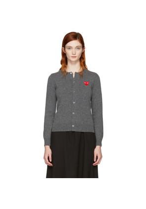 Comme des Garçons Play Grey & Red Heart Patch Cardigan