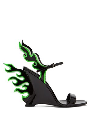 Prada - Flame Patent Leather Sandals - Womens - Black Green