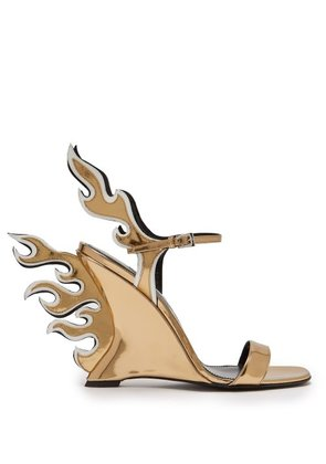 Prada - Flame Patent Leather Sandals - Womens - Gold