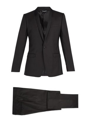 Dolce & Gabbana - Gold Fit Single Breasted Wool Blend Suit - Mens - Black