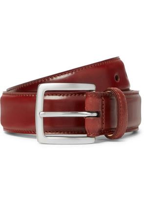 George Cleverley - 3.5cm Cognac Horween Shell Cordovan Leather Belt - Brick