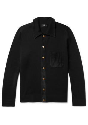 Dunhill - Suede-trimmed Merino Wool Cardigan - Black