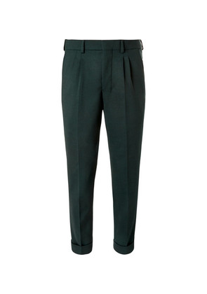 AMI - Tapered Pleated Twill Trousers - Green
