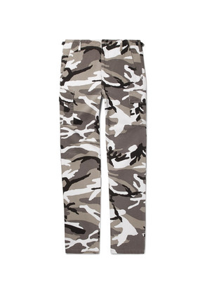 Balenciaga - Slim-fit Camouflage-print Cotton-twill Cargo Trousers - Gray