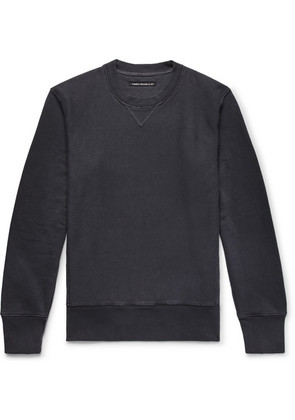Fabric-Brand & Co - Loopback Cotton And Linen-blend Jersey Sweatshirt - Midnight blue