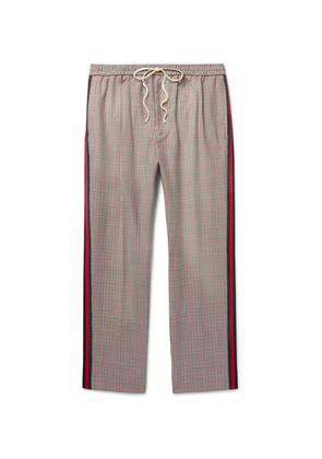 Gucci - Webbing-trimmed Puppytooth Wool And Mohair-blend Trousers - Neutral