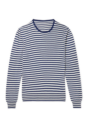 Anderson & Sheppard - Striped Silk Sweater - Navy